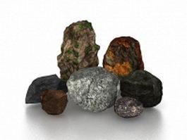 Decorative garden stones 3d model