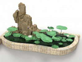 Small lotus pond with rockery 3d model