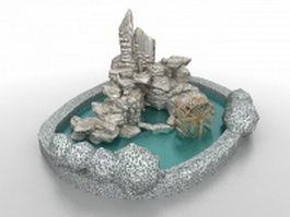 Pond and rockery garden 3d model