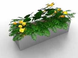 Stone raised flower bed 3d model