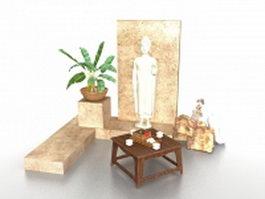 Buddha statue and garden planter 3d model