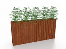 Bamboo in planter box 3d model