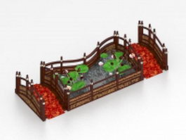 Small lotus pond with bridges 3d model