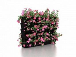 Flowering hedge plants 3d model