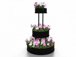 Round tiered flower bed 3d model