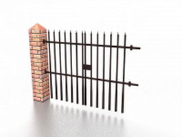 Wrought iron fence with brick column 3d model