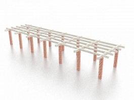 Brick pergola 3d model