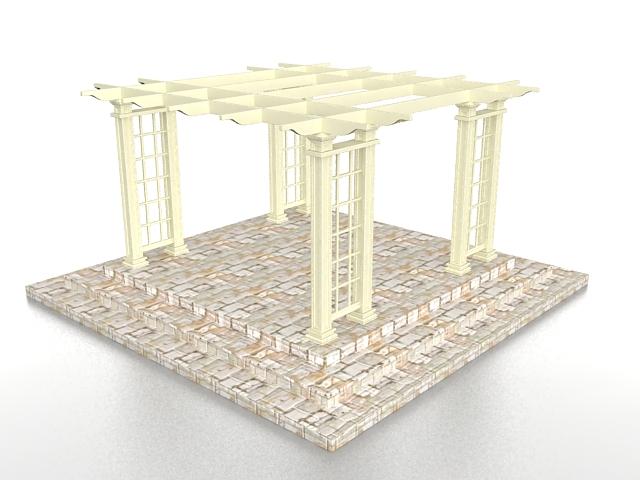 Brick Base Pergola 3d Model 3ds Max Files Free Download