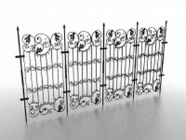 Cast iron garden fence 3d model