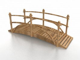 Wooden landscape bridge 3d model