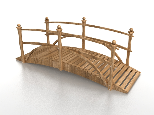 Wooden landscape bridge 3d model 3ds max files free for Garden design in 3ds max