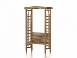 Wood garden arbor 3d model