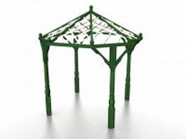 Small wood pergola 3d model