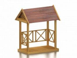 Garden arbor with roof 3d model