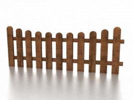 Wood garden fence 3d model