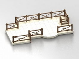 Pond deck with railing 3d model