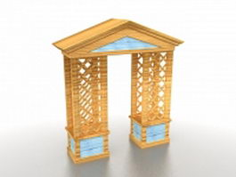 Wood arbor gate 3d model