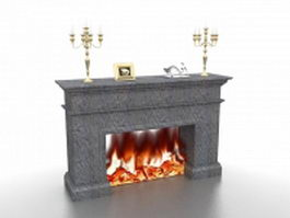 Fireplace and candlesticks 3d model