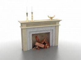 Wood burning fireplace 3d model