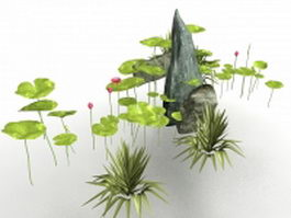 Pond lotus flower and rockery 3d preview