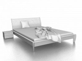 Double bed and nightstand 3d model