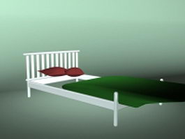 White twin bed 3d model