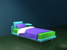 Platform bed with attached table 3d model