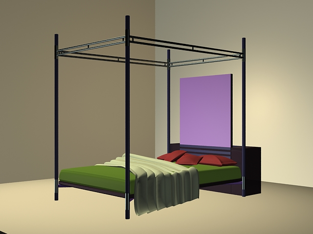 Metal Four Poster Bed 3d Model 3ds Max Files Free Download