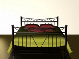 King size metal bed 3d model