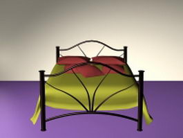 Black metal bed 3d model