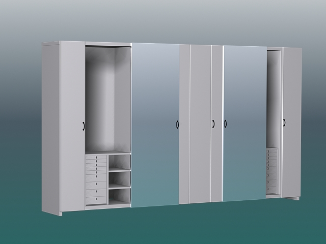 White Wardrobe Closet 3d Model