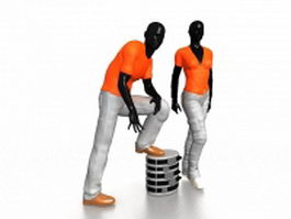 Mannequins in store with clothes 3d model
