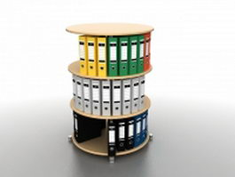 Binder carousel storage rack 3d model