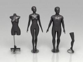 Black mannequins 3d model