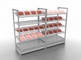 Fresh meat display rack 3d model