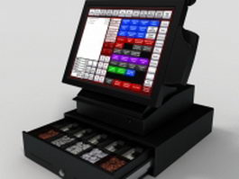 Touch screen cash register 3d model