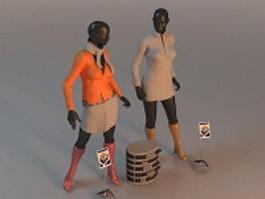 Fashion female mannequins 3d model
