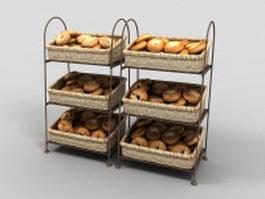 Bagel display racks for bagel shops 3d model