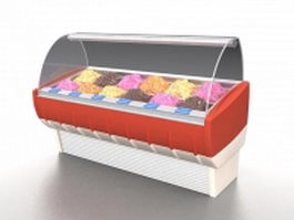 Ice cream display freezer 3d model