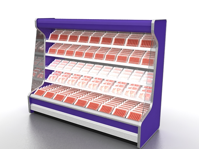 Fresh Meat Display Refrigerator 3d Model 3ds Max Files