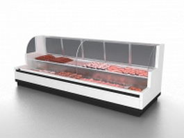 Supermarket fresh meat refrigerator 3d model