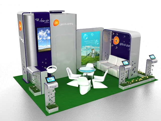 Elegant Exhibition Booth Design 3D Model