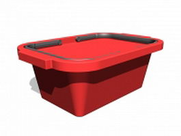 Red shopping basket 3d model