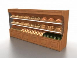 Retail bakery bread display 3d model