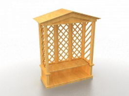 Arbor trellis with seat bench 3d model