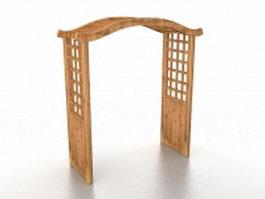 Wooden garden trellis arbor 3d model