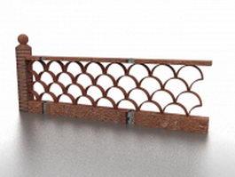 Brick garden fence 3d model