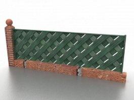 Green wood fence 3d model