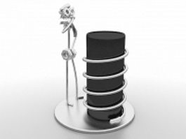 Metal figure pen holder 3d model