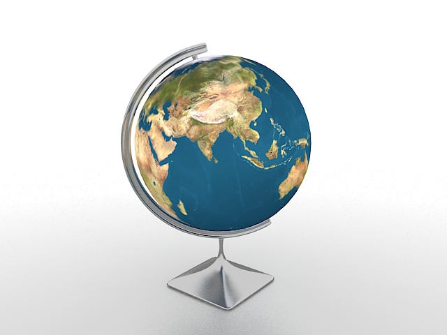 Educational world globe 3d model 3ds max files free ...
